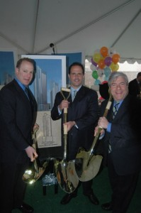 In photo (from left): Developers Dean Palin and Ron Hershco and Brooklyn Borough President Marty Markowitz break ground on new residential buildings at 306 and 313 Gold St. in Downtown Brooklyn.